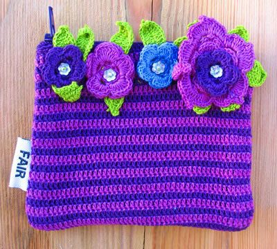 Cotton crochet flower purses