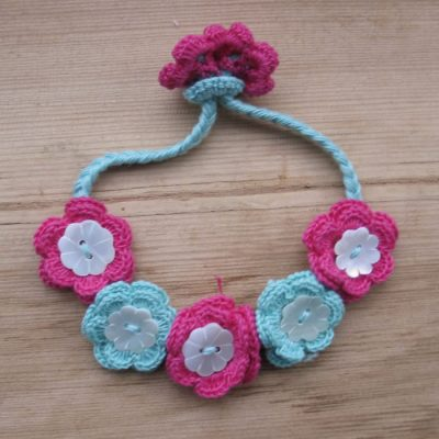 Cotton crochet flower and shell bracelets