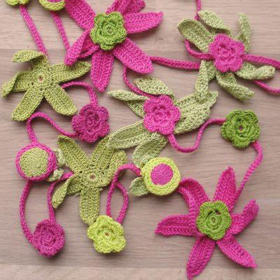 Medium Crochet Flower Pattern : Cotton crochet flower necklaces - medium Fair Trade ...