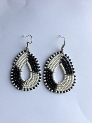 black and white medium bead earrings
